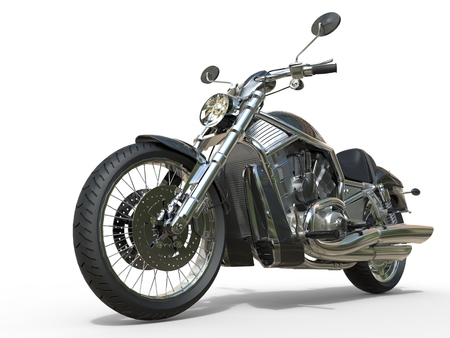 motorcycle road: Powerful Vintage Motorcycle - Closeup Stock Photo