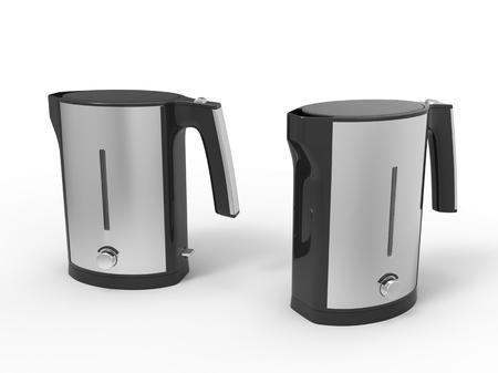kettles: Dos calderas modernas de cromo Foto de archivo