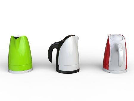 kettles: Tres calderas modernas Foto de archivo