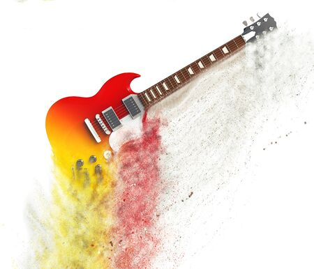 fx: Red electric guitar disintegrating - particle FX Stock Photo