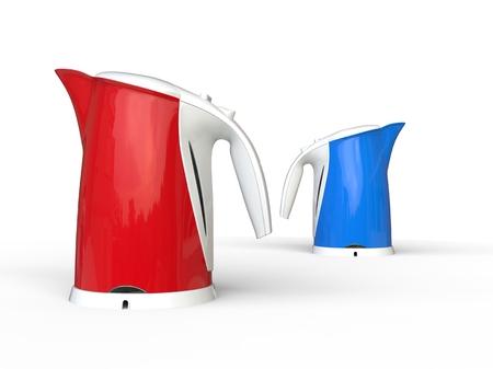 kettles: calderas modernas rojas y azules Foto de archivo