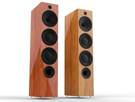 acoustic systems: Modern wooden speakers Stock Photo