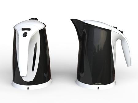 kettles: Dos hervidoras Negro con empu�aduras blanco Foto de archivo