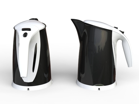 kettles: Two Black Kettles with white hand grips