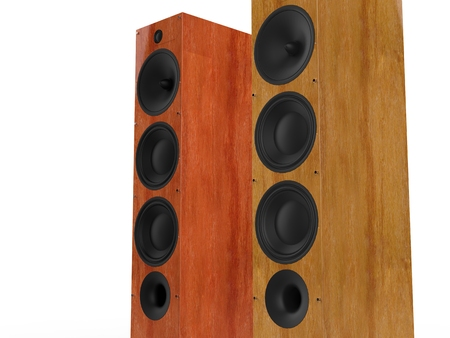 party system: Modern wooden speakers - closeup
