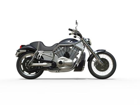 biker: Black Powerful Motorcycle - Side View