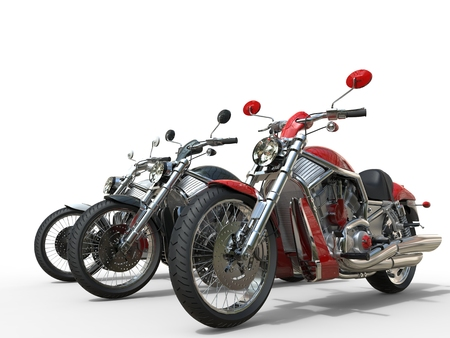 Vintage motorcycles - red in front Stock Photo