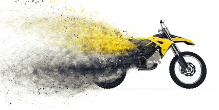dirt bike: Dirt Bike Disintegration Stock Photo
