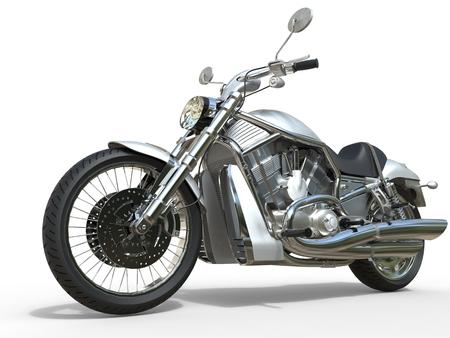 powerful: Powerful Vintage Motorcycle - White Stock Photo