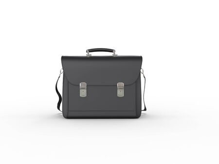 leather briefcase: Classic black leather briefcase - front view Stock Photo