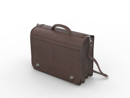leather briefcase: Classic brown leather briefcase - back view