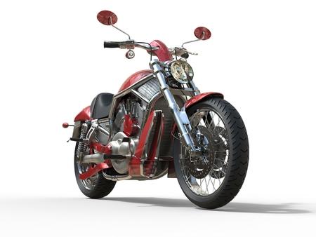 赤いロードスター バイク - 正面図 写真素材