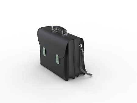 black leather: Classic black leather briefcase - top front view