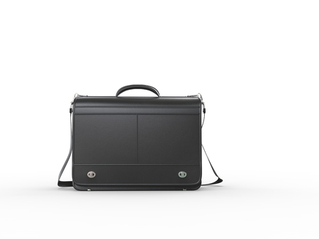 leather briefcase: Classic black leather briefcase - back view Stock Photo