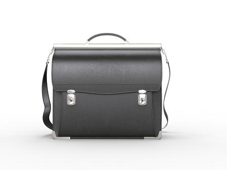 black briefcase: Vintage cool black briefcase - front view Stock Photo