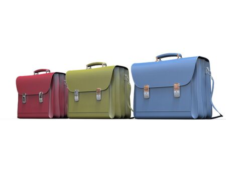 red' green: Red, green and blue leather briefcases Stock Photo