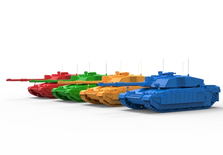green military miniature: Colorful Toy Tanks Stock Photo