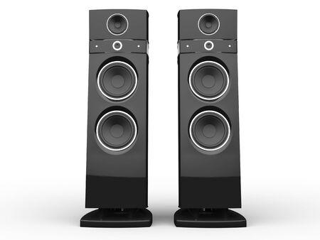 loudspeakers: Two hi-tech loudspeakers Stock Photo