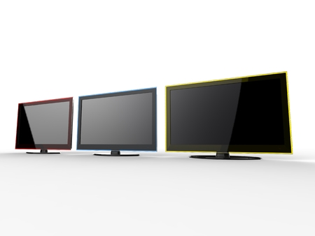 tv sets: Red, blue, and yellow TV sets