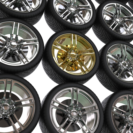 vulcanization: Racing tires with chrome and gold rims
