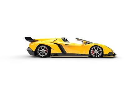 白い背景の上の黄色のスーパーカー