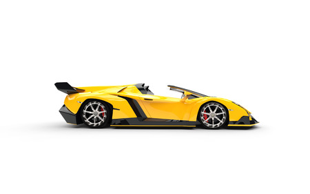 Yellow supercar on white background