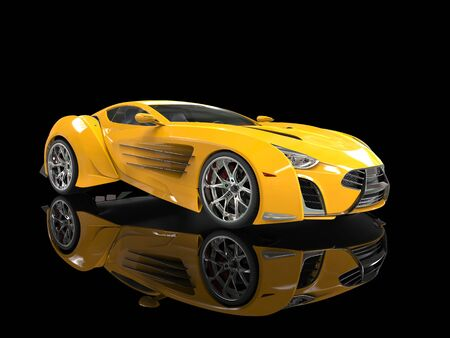 reflective background: Yellow concept supercar on black reflective background