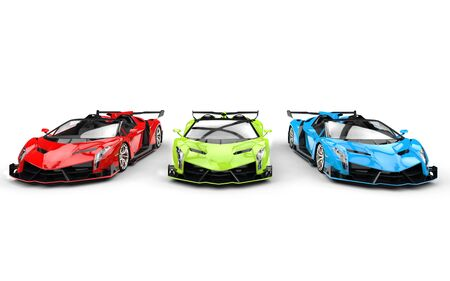 prestige car: Row of three race supercars - base colors