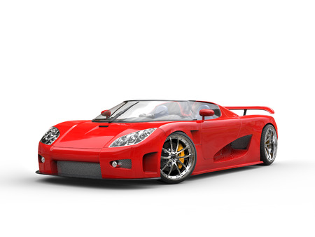 Bright red sports car on white background
