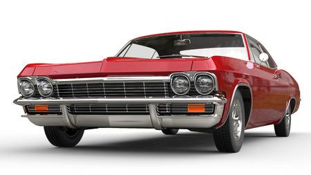 赤い金属筋肉車 - フロント ビュー - クローズ アップ