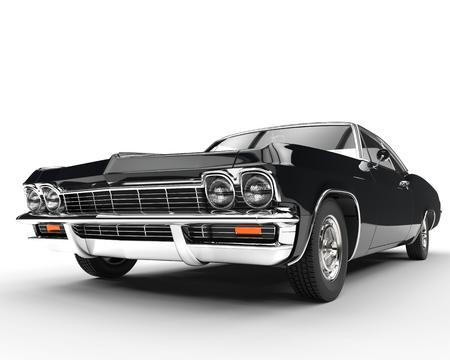 黒古典的な筋肉の車の正面クローズ アップ 写真素材