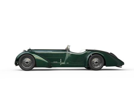 Groene uitstekende auto - zijaanzicht Stockfoto