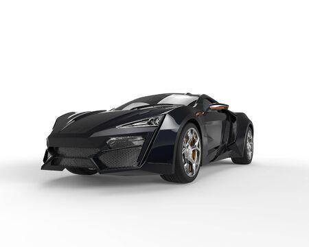sportscar: Black sportscar - front closeup