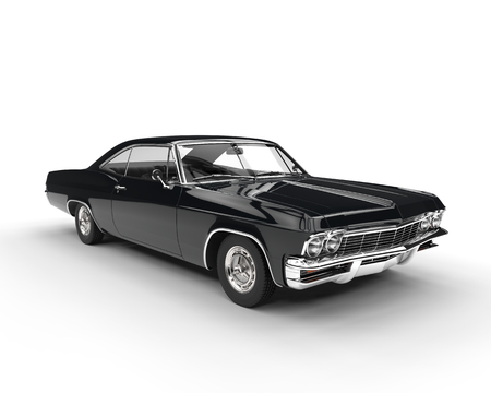 Classic muscle black car - studio lighting shot