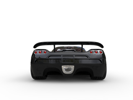 sportscar: Awesome black sportscar - back view Stock Photo