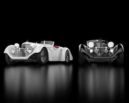 White and black vintage cars