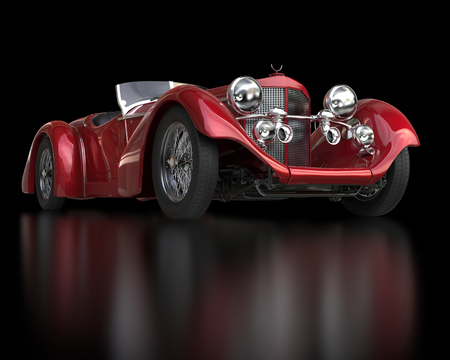 Red vintage car - front view closeup Stockfoto