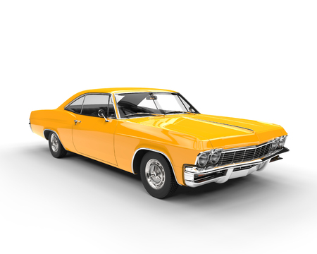 Classic muscle yellow car - studio lighting shot Imagens