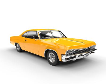 Klassieke spier gele auto - het schot van de studioverlichting Stockfoto