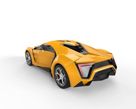 sportscar: Yellow sportscar - top back view - studio lighting Stock Photo