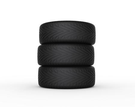 vulcanization: Three car tires Stock Photo