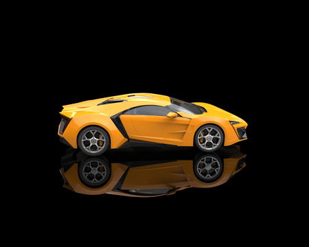 reflective background: Yellow sports car on black reflective background
