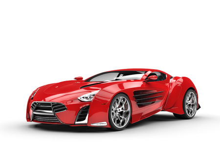 Red metallic supercar - studio shot Stockfoto