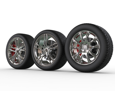pneumatic tyres: Car wheels - rims variations - side view