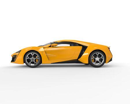 side lighting: Yellow sportscar - side view - studio lighting