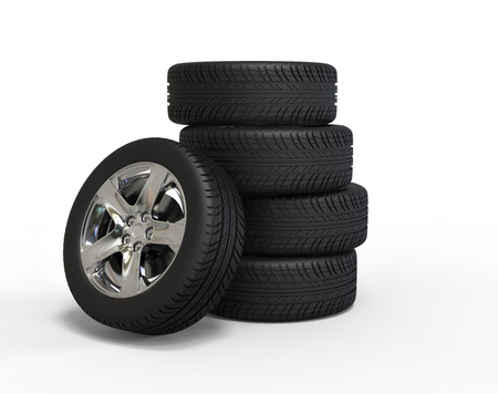 vulcanization: Stacked car wheels