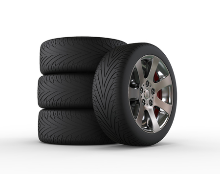 vulcanization: Car tires and car wheel Stock Photo