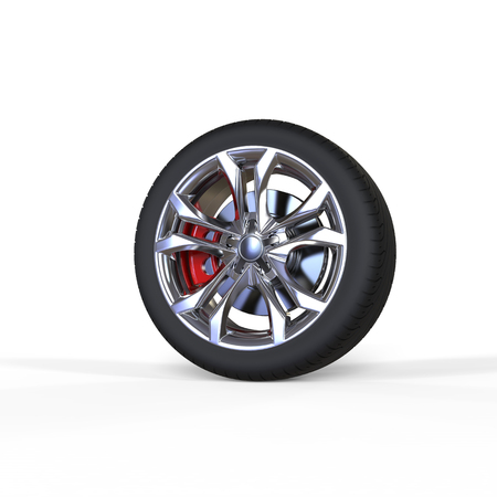 rims: Race car tire with chrome rims