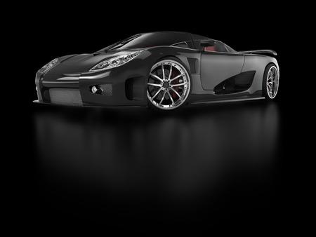 反射する黒い背景に黒いスポーツカー 写真素材