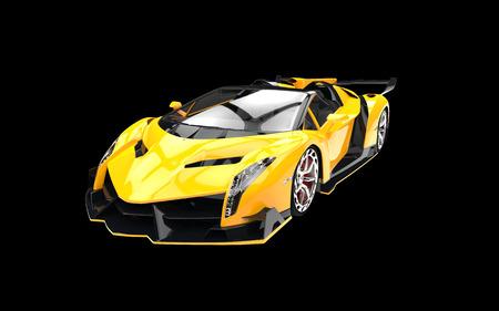 黒の背景に黄色のスーパーカー